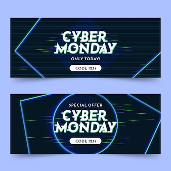 Bannières glitch cyber lundi