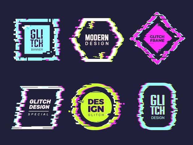 Bannières de glitch. glitch de distorsion affiche hipster cadres cassés et formes abstraites de modèle de texte