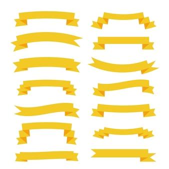 Bannières de grand ensemble de rubans jaunes plats