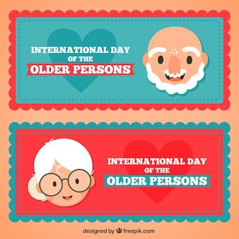 Bannières avec les grands-parents heureux