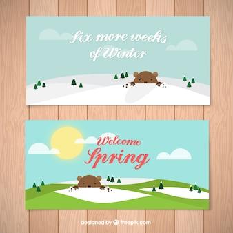 Bannières groundhog day avec un message