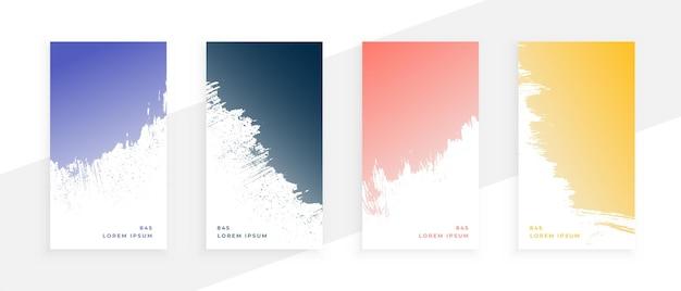 Bannières de grunge abstraites définies en quatre couleurs