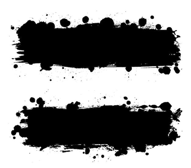 Bannières grunge éclaboussures noires sales