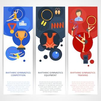 Bannières de gymnastique à plat