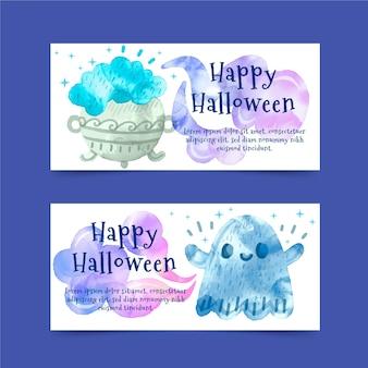 Bannières d'halloween aquarelle