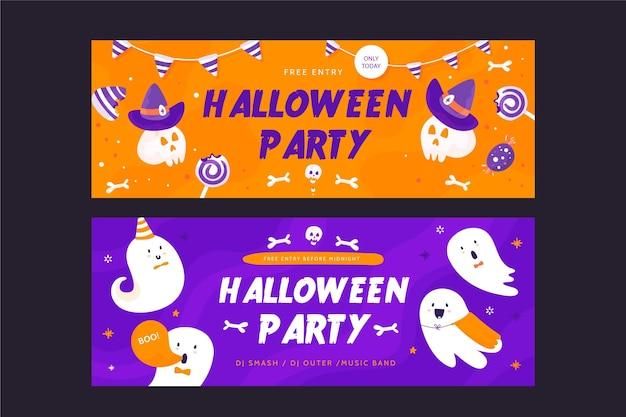 Bannières d'halloween au design plat