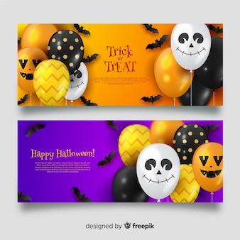 Bannières halloween ballons mignons avec des visages