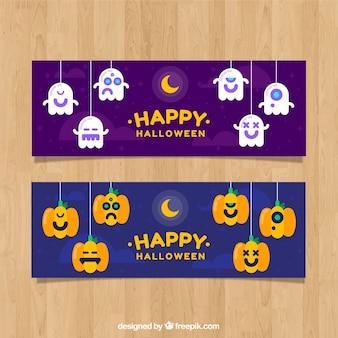 Bannières d'halloween avec de beaux personnages dans un design plat