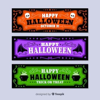 Bannières d'halloween colorées avec un design plat