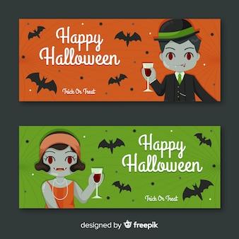 Bannières d'halloween de dame et monsieur vampire