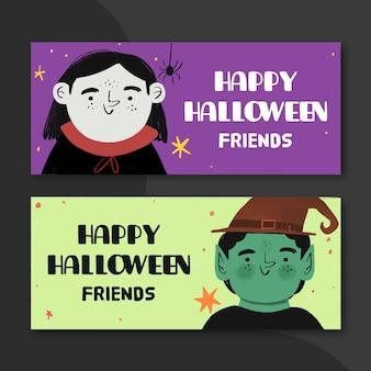 Bannières d'halloween design dessiné à la main