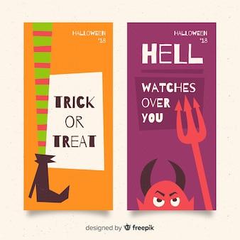 Bannières d'halloween dessinées à la main colorée