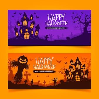 Bannières d'halloween dessinées à la main