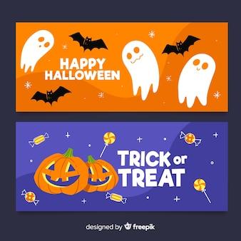 Bannières halloween dessinés à la main, bleu et orange