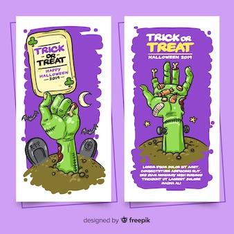 Bannières d'halloween dessinés à la main moderne