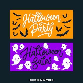 Bannières halloween dessinés à la main orange et violet