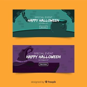 Bannières d'halloween dessinés à la main