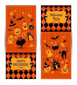 Bannières d'halloween sur fond de couleurs. invitation à la soirée. modèle de conception de vecteur pour la célébration d'halloween avec des icônes. ensemble de symboles d'automne.