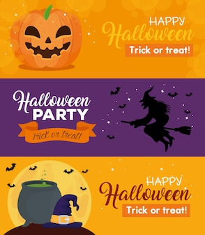 Bannières d'halloween heureux avec décoration