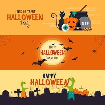 Bannières d'halloween heureux