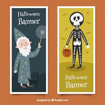 Bannières d'halloween avec magicien et squelette