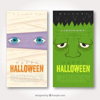 Bannières d'halloween avec maman et frankenstein