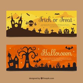 Bannières d'halloween avec manoir et pierres tombales