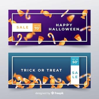 Bannières d'halloween modernes avec un design réaliste