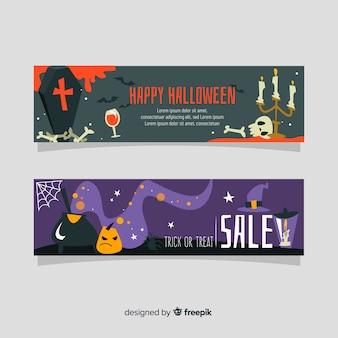 Bannières d'halloween modernes