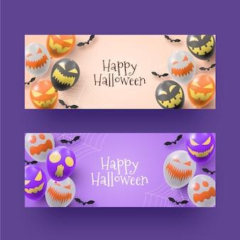 Bannières d'halloween réalistes