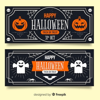 Bannières d'halloween vintage avec citrouille et fantôme