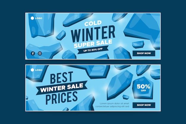 Bannières d'hiver pour la collecte des ventes