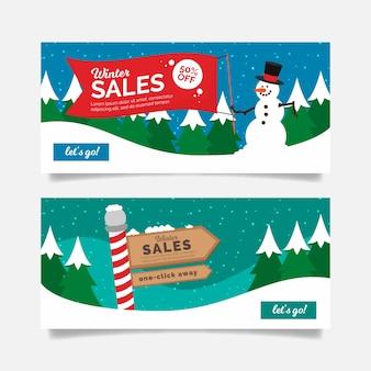 Bannières d'hiver vente avec bonhomme de neige et signe de vente pôle nord