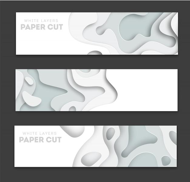 Bannières horizontales avec abstrait 3d