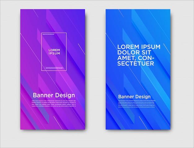Bannières horizontales abstraites avec motif dégradé