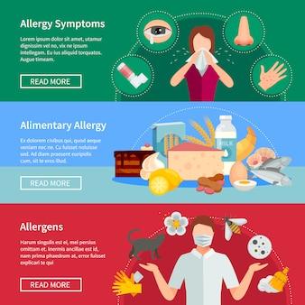 Bannières horizontales d'allergie