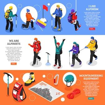 Bannières horizontales d'alpinisme