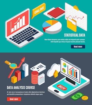 Bannières horizontales d'analyse de données