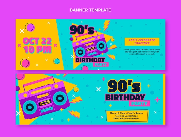 Bannières horizontales d'anniversaire des années 90 dessinées à la main