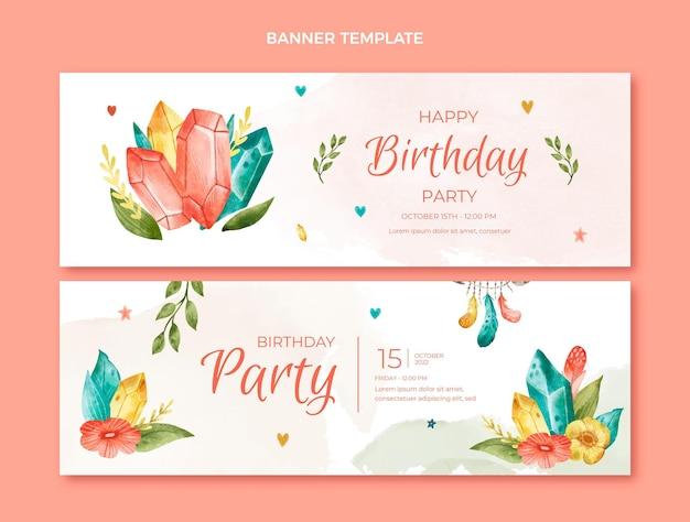 Bannières horizontales d'anniversaire boho aquarelle