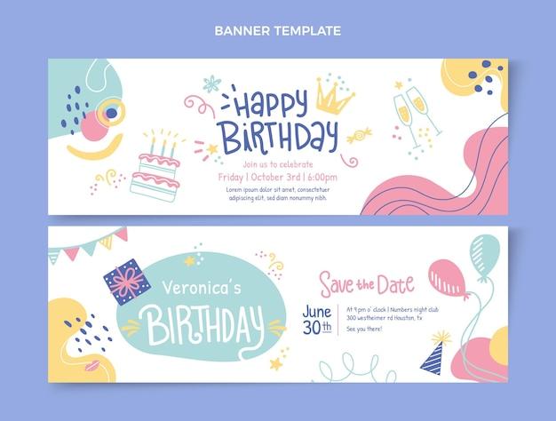 Bannières horizontales d'anniversaire dessinées à la main