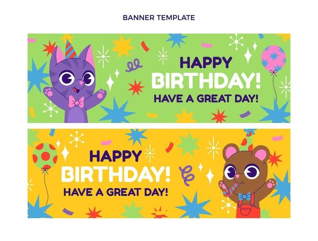 Bannières horizontales d'anniversaire enfantin dessinés à la main