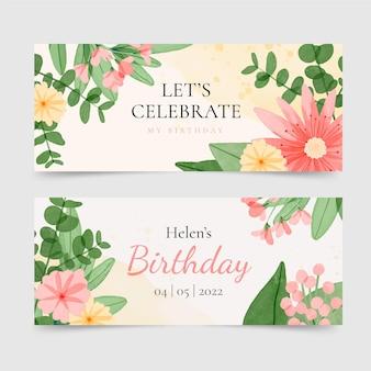 Bannières horizontales d'anniversaire floral aquarelle