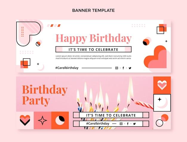 Bannières horizontales d'anniversaire en mosaïque design plat