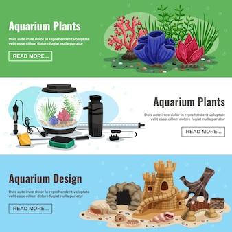 Bannières horizontales d'aquarium