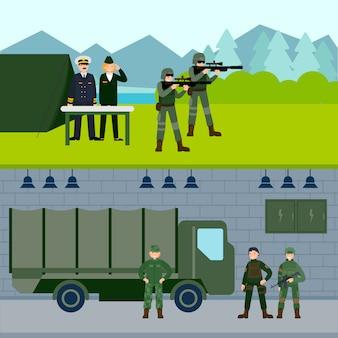 Bannières horizontales de l'armée