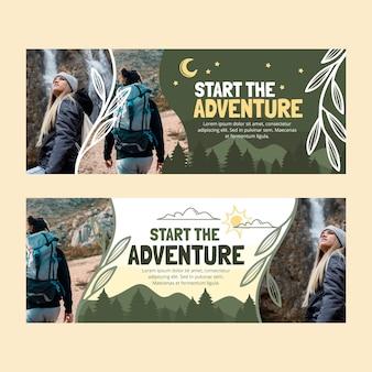 Bannières horizontales d'aventure dessinées à la main avec photo