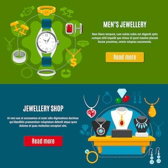 Bannières horizontales de bijoux pour hommes