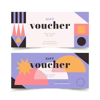Bannières horizontales de bon cadeau design plat