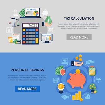 Bannières horizontales de calcul des taxes
